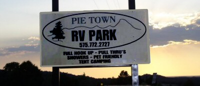 Photo of the Pie Town RV Park sign